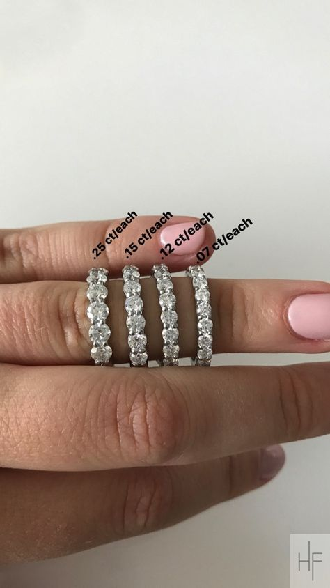 Wedding Ring Size Guide Diamond Eternity Rings By Carat Size 5 Carats Total Weight To 1 5 Eternity Ring Diamond Jewelry Rings Diamond Custom Diamond Jewelry