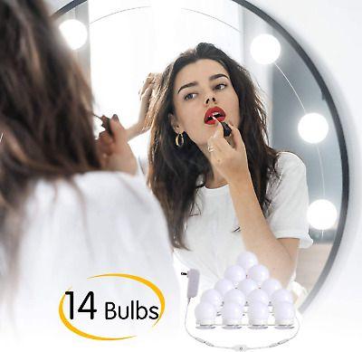 14 Dimmable Led Vanity Lights Strip Kit Diy Makeup Mirror Plug In Light Bulbs Ebay In 2020 Diy Makeup Mirror Led Vanity Lights Led Vanity