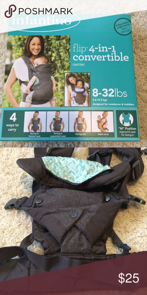 Infantino 4-in-1 Convertible Carrier Infantino 4-in-1 Carrier in excellent condition.  In original box.  8-32 lbs.  4 ways to carry.  Gray and teal. Infantino Other