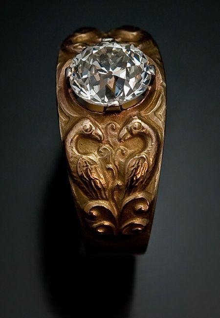 Antique 2 Ct Diamond Me val Style Men s Rings Antique Jewelry