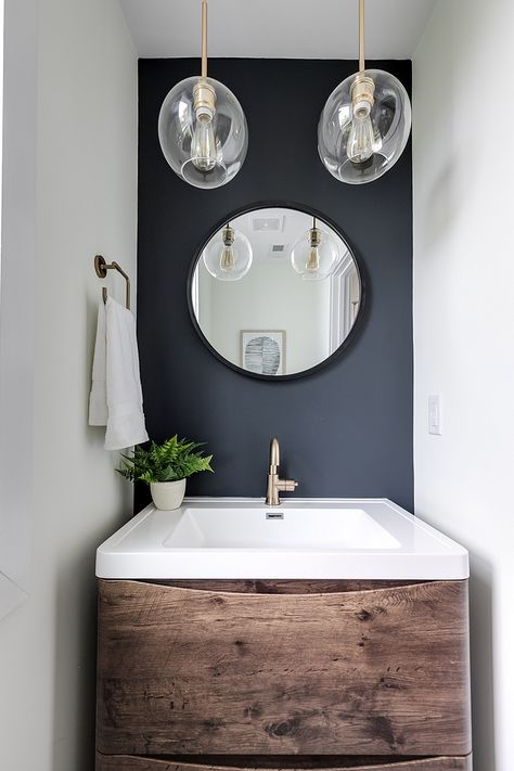 Accent Wall Color Soot By Benjamin Moore Paint Color Simply White By Benjamin Moore Va Bathroom Accent Wall Small Bathroom Paint Bathroom Wall Colors