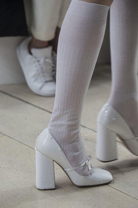 Miu Miu at Paris Fashion Week Spring 2019 - Details Runway Photos Source by ashinienu fashion heels Sock Shoes, Cute Shoes, Me Too Shoes, Shoes Heels, Crazy Shoes, Shoes And Socks, Knee High Socks Outfit, Miu Miu Heels, Footwear Shoes
