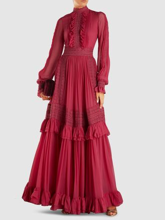 High neck neo-victorian maxi dress with ruffles