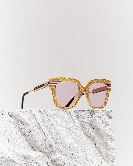 7ff50474a68e Metal & Glittered Acetate Square Sylvie Web Sunglasses, Gold ...
