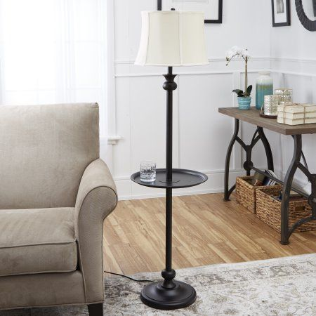 Better Homes And Gardens Floor Lamp With Tray Black Walmart Com Floor Lamps Living Room Lamps Living Room Farmhouse Table Lamps