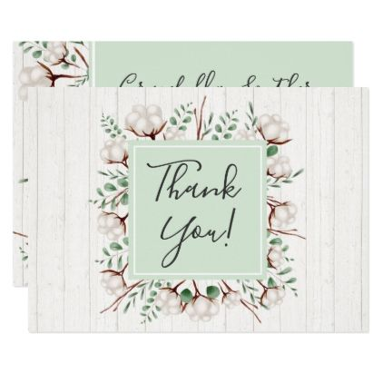 Rustic Southern Cotton Flowers On Wood Thank You Card Watercolor Gifts Style Unique Ideas Diy