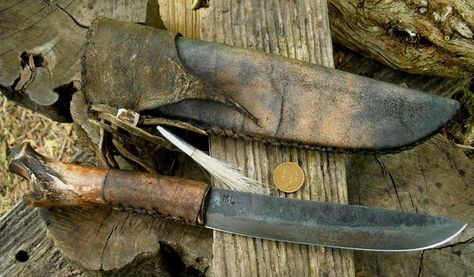 Frontier Belt knife primitive aged bone rawhide wrap braintanrawhide sheath 6 plus inch patina aged blade