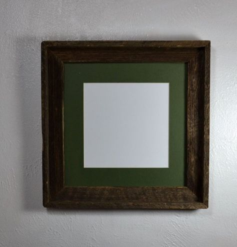 8x8 Green Mat In 12x12 Rustic Reclaimed Wood Picture Frame Fits 8x8 10x10 8 5x11 Or 8x10 Wood Picture Frames