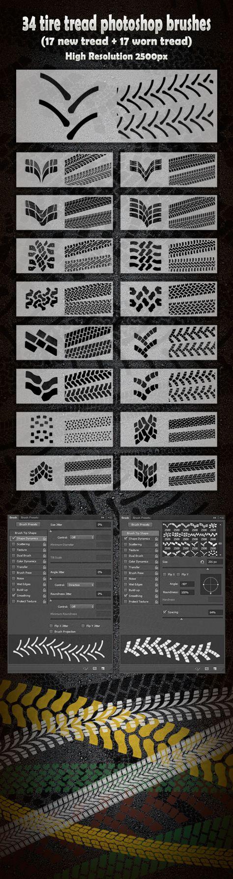 34 Tire Tread Photoshop Brushes