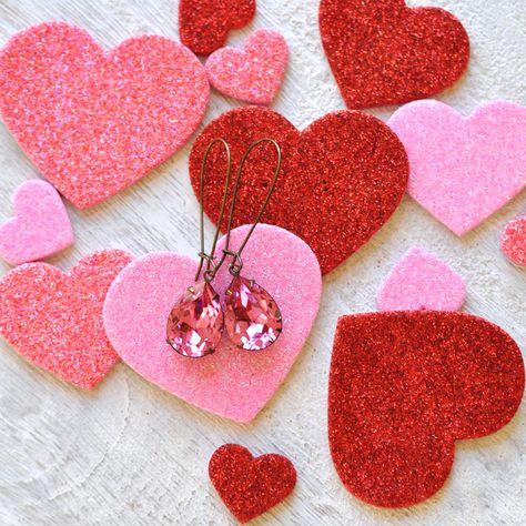 Pink Dangle Earrings Swarovski Crystal Rose Pink Tear Drop Long Kidney Wire Dangles Valentines Day Valentine Gift Pink Wedding Mashugana #SwarovskiRosePink #PinkPearEarrings #PinkTearDrop #PinkKidneyWires #RosePink #SwarovskiEarrings #ValentinesDay #PinkEarrings #SwarovskiDangles #PinkDangles
