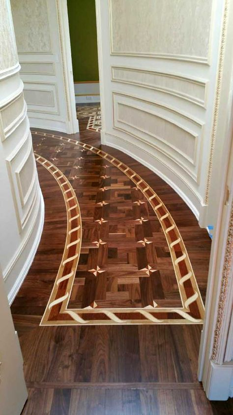 Picture, example of border curved, set in Walnut parquet,