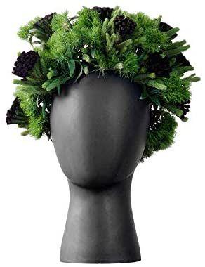 Amazon Com Jcpiing Head Shape Creative Ceramic Cool Artificial Flower Vase Modern Home Decorations Interior Ornam In 2020 Ceramic Flowers Large Flower Vases Head Vase