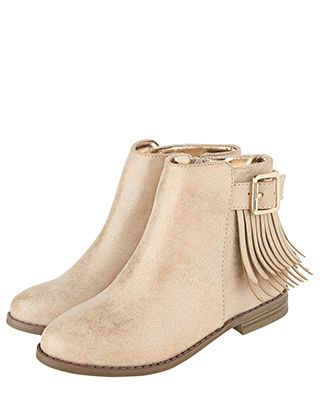Gabby Shimmer Fringed Ankle Boots