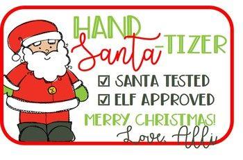 Christmas Gift Tag For Hand Sanitizer Santa Tizer Diy Holiday