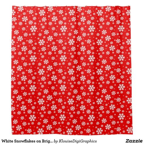 White Snowflakes On Bright Red Shower Curtain