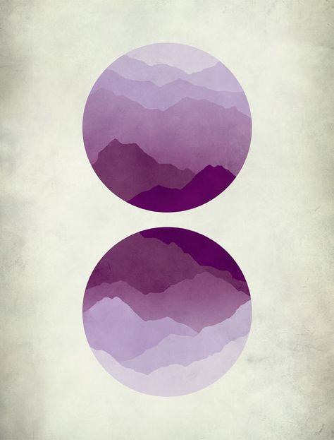 Mid Century Modern Art, Abstract Landscape, Minimalist Poster, Geometric Art, Purple art
