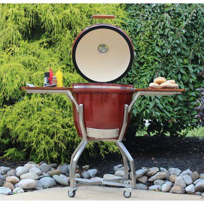 Hanover Ceramic Kamado Grill With Stainless Steel Cart And Accessories  Package   HAN191KMDCSCA GM