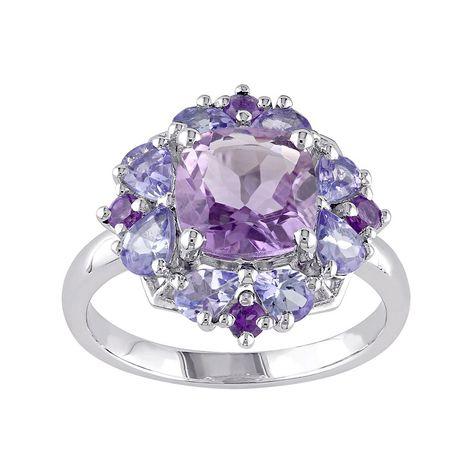 Amethyst & Tanzanite Sterling Silver Flower Ring, Women's, Size: 5, Purple