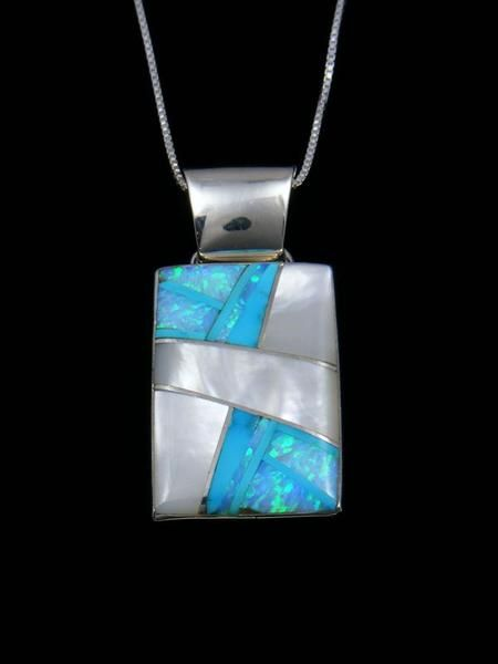 Silver Large Mother of Pearl Inlayed Pendant