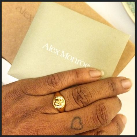 NEW bee signet ring by Alex Monroe Nature inspired baubles