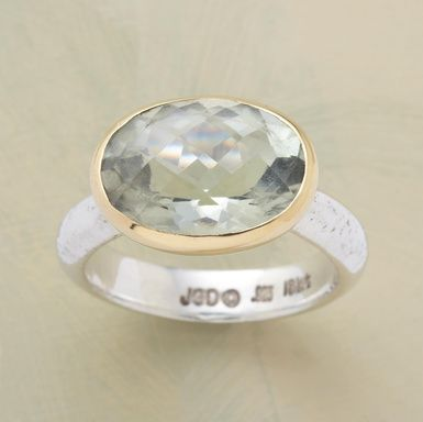 BRILLIANCE RING -- Bedazzling and bewitching green amethyst, cradled in yellow gold and set on sterling silver. Whole sizes 5 to