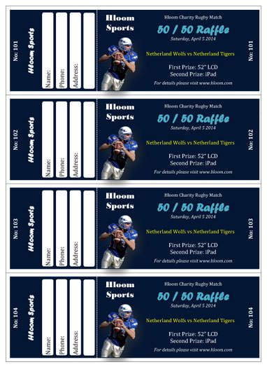 Sport Charity Match Raffle Ticket Template  Titans