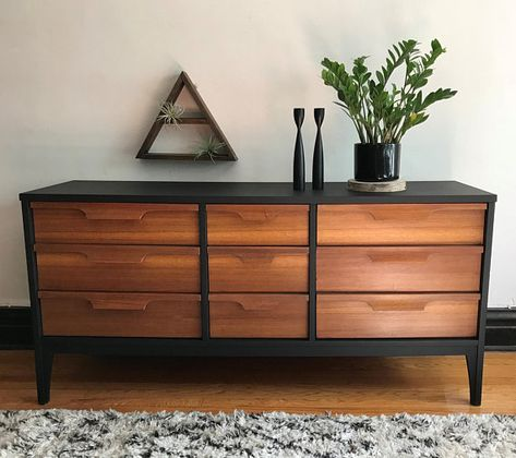 SOLD** Matte Black and Wood Mid Century Modern Dresser//Refinished MCM Credenza//Vintage Modern Media Console//Mid-Century Sideboard