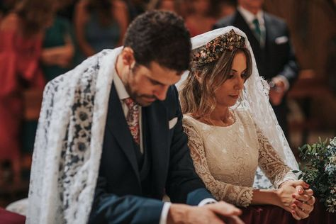 19 Catholic Wedding Traditions You Need to Know Catholic Marriage, Catholic Veil, Church Ceremony, Wedding Ceremony, Wedding Backdrops, Ceremony Backdrop, Ceremony Decorations, Outdoor Ceremony, Catholic Wedding Dresses