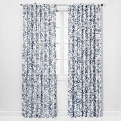 84 X54 Charade Floral Light Filtering Curtain Panel Blue
