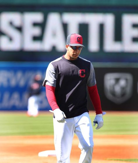 Cleveland Indians Michael Brantley, during batting practice before