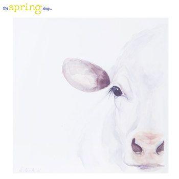 White Cow Canvas Wall Decor Cow Canvas Cow Decor Canvas Wall Decor