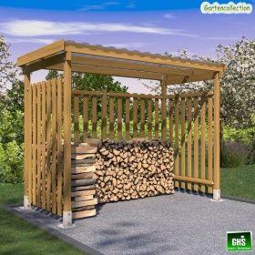 GHS Unterstand 3x1,5 m für Kaminholz, Grill oder Gartengeräte 3-seitig verkleidet   Gartencollection