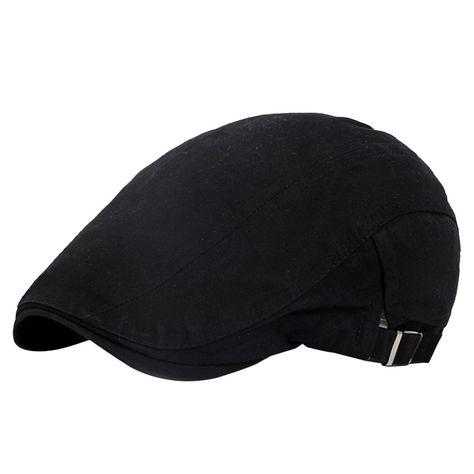 Men s Cotton Adjustable Flat Gatsby Newboy Driving Hunting Hat Cap - Black  - C4186W2RD0X - Hats   Caps fadbb10ebdf6