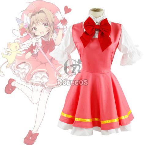 Cardcaptor Sakura Kinomoto Fighting Red Dress Lolita Uniform Cosplay Set