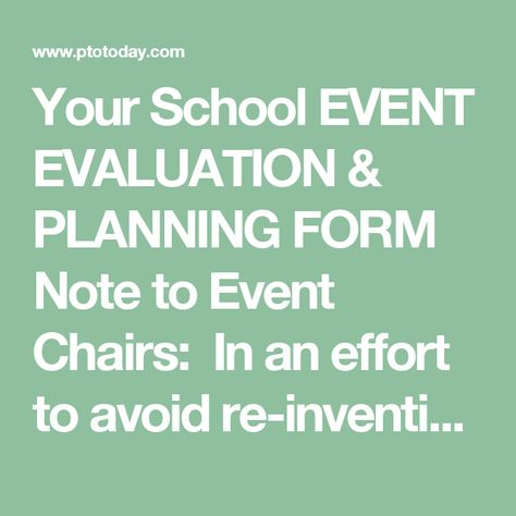 Your School Event Evaluation  Planning Form Note To Event Chairs