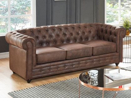 Canape 3 Places Chesterfield En Microfibre Aspect Cuir Vieilli Canape Chesterfield Cuir Vieilli Chesterfield