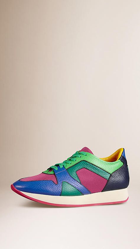 Bright regency blue/pink The Field Sneaker in Colour Block Leather and Mesh - Image 1