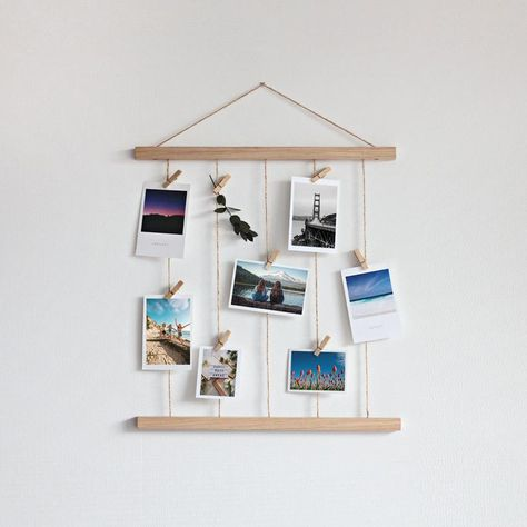 Hanging Pictures On The Wall, Photo Wall Hanging, Photo Wall Decor, Hanging Photos, Pictures On String, Hanging Polaroids, Polaroid Display, Polaroid Wall, Polaroids On Wall