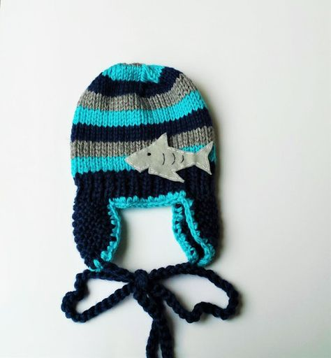 Check out this item in my Etsy shop  https   www.etsy.com listing 223044305 chunky-striped-earflap-shark-hat -made-in e1c80404bf19