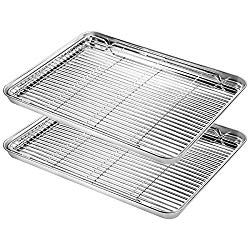 Baking Sheet With Rack Set Yododo 2 Sets Stainless Steel Baking Pans Tray Cookie Sheet With Cooling Rack Rectangle Size 16 X 12 X 1 Inch Non Toxic Healthy Stainless