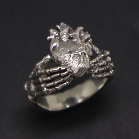 Skull Hand Holding Heart Ring Silver Unique Claddagh Ring