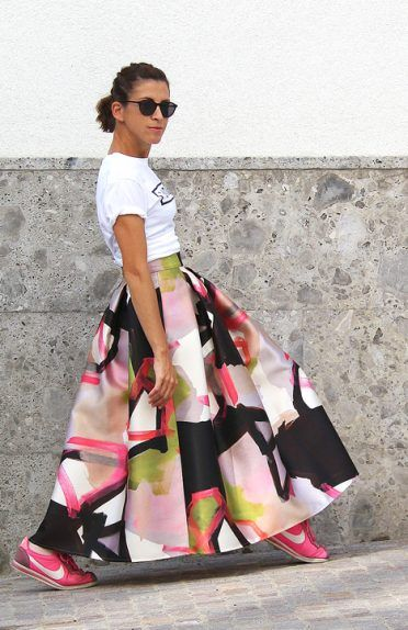 new style d5e7f b2f3c Skirt, gonna lunga, anni 50, 50s, tshirt, fucsia, black ...
