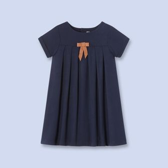Bow trimmed empire dress - Girl - NAVY BLUE - Jacadi Paris