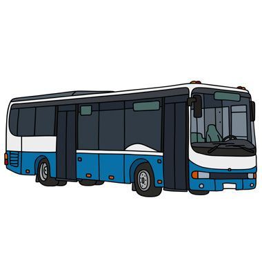 The Blue And White City Bus