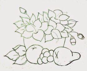 Cesta De Hibiscos Com Frutas Pinturas Riscos Para Pintura