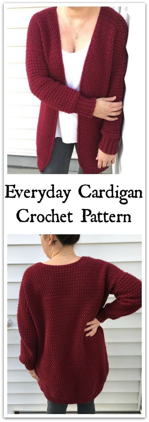 Ready for your next crochet project? Snuggle up with your favorite yarn and crochet this quick and cozy cardigan. The Airport Cardigan features drop sleeves, a long roomy bodice, and a heavy, squishy textured design paired with traditional ribbing. Instant PDF download. #ad #affiliate #crochet #pattern