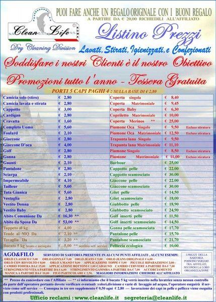 Risultati immagini per listino prezzi lavanderia | Listino