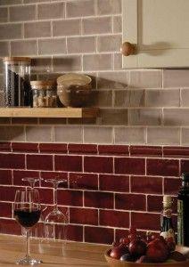 Red Subway Tile Kitchen Design Ideas Por Backsplash Excellent Gl