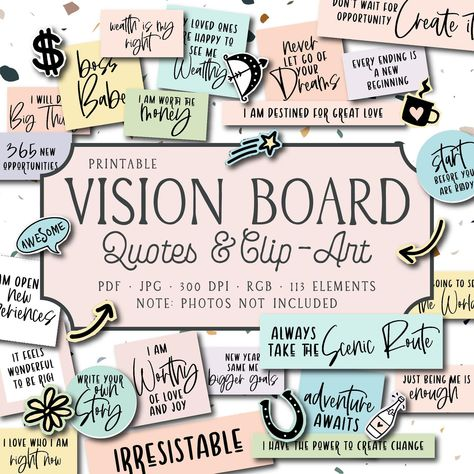 VISION BOARD QUOTES & clip art, visioning printables, printable cards, inspirational words, planner cards, scrapbook cards, journaling cards