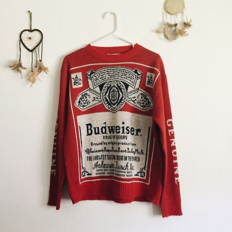 80s Vintage Budweiser Sweater Red Sweaters by EmmaDeerShop ...